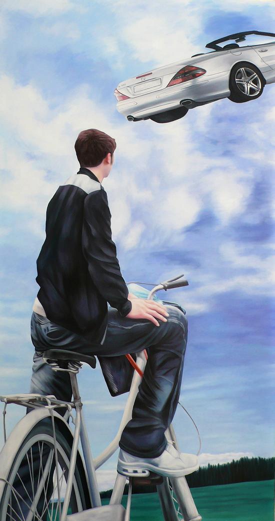 《行者系列No·22》油画,布面、油彩,255×134cm,2010年