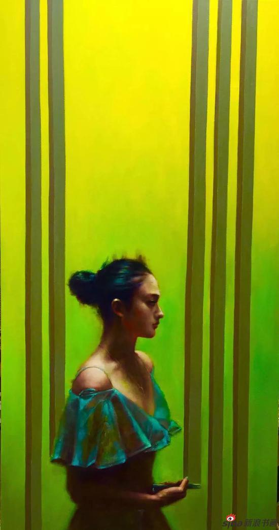 《手机女孩》170x90cm 油画