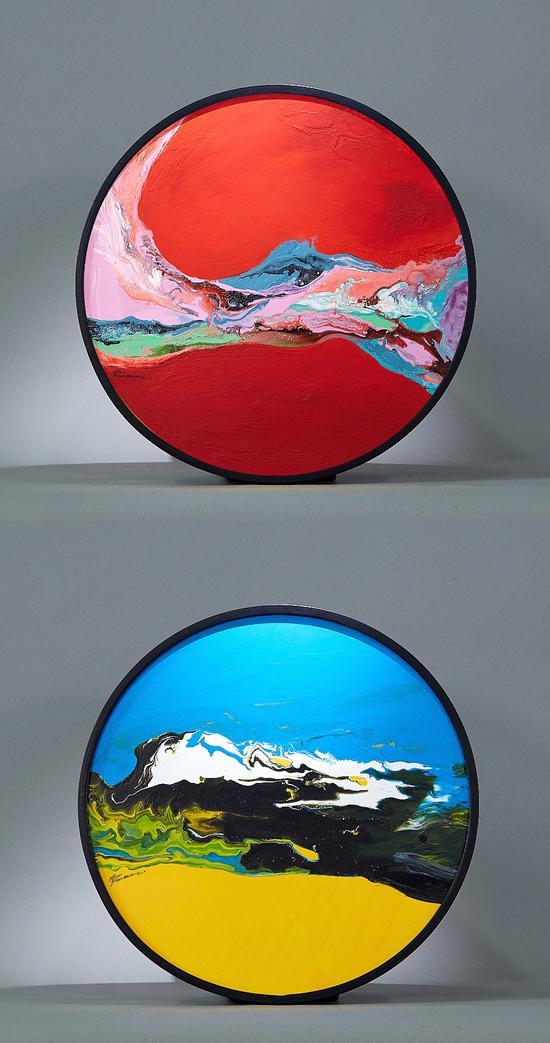 南歌子油画[凤蝶令]系列直径50cm