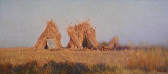 琼湖·窝棚 70cm×160cm 布面油画 2013