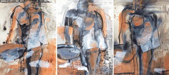 郑志明 习作三幅 76×56cm×3 水彩画