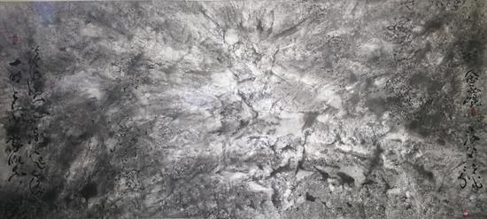 沧海横流潮起落 一时多少豪杰 念西昆 海上景在平 纸本水墨 265X120