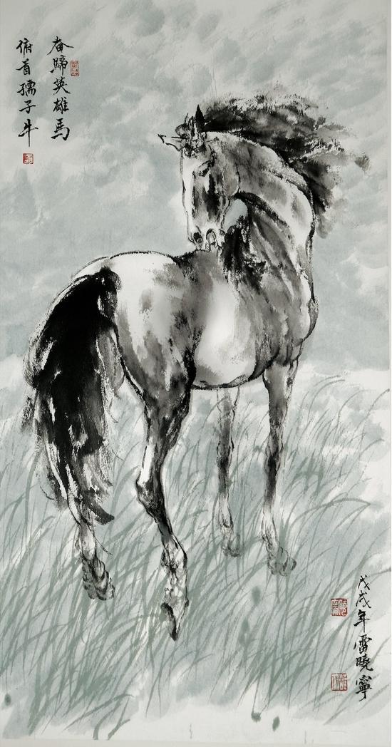 雷晓宁 《奋蹄英雄马》 48 x 90cm