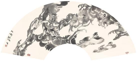 安林《秋水无声》32cm×63cm  纸本水墨  2017年