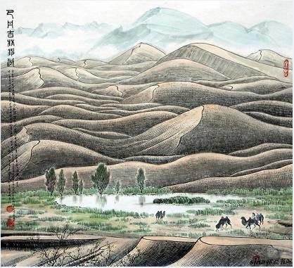 黄名芊《巴丹吉林神湖》68x68cm