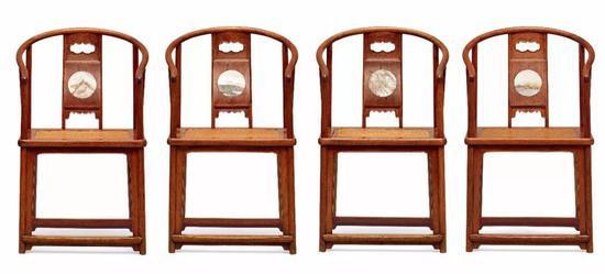 清早期  黄花梨镶大理石圈椅四只  53×41×91 cm×4  成交价:RMB 27,025,000