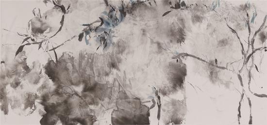 照影 Reflection,140×66cm,宣纸水墨,2020