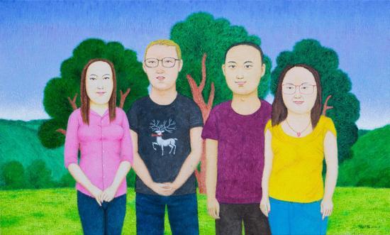 张开溪《三棵树前的合影》60×100cm,布面油画,2018年