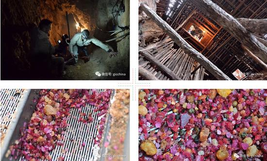 图为抹谷采矿的部分流程