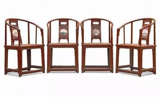 清早期 黄花梨镶大理石圈椅四只53×41×91 cm ×4