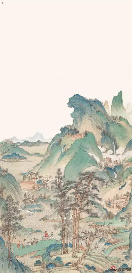《江堤晚景》 纸本设色 240×116cm 2018年