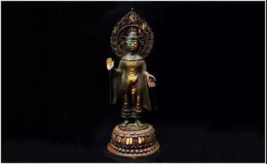 北魏铜鎏金佛像 铭文北魏释迦牟尼佛像   尺寸:37x12cm