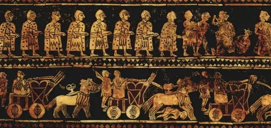 贝壳和青金石组成的方盒,描述苏美尔人生活的场景
