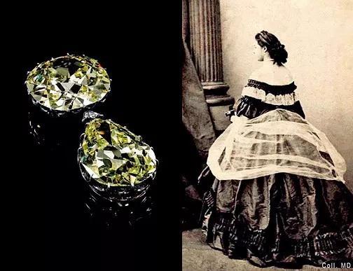 """""""杜能斯马克钻石""""及其拥有者,十九世纪巴黎著名交际花、风靡当代文化艺术界的拉佩瓦(LaPa?va)。(照片由法国摄影师Marie-Alexandre Alophe拍摄于1860年前后)"""