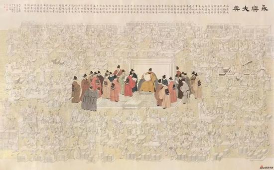 《永乐修典》274.5 cm × 440.5 cm 2016年,(与安玉民-李强 -詹勇合作, 管峻题跋)