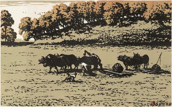 陈天然《套耙》 22cm×36cm 套色木刻 1956