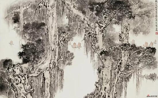 闽江古榕 金志远 1982年 60x95cm 国画 中国美术馆藏