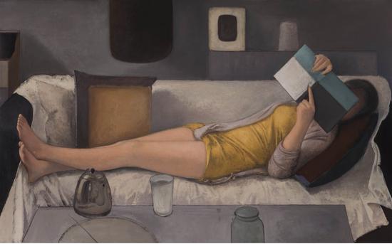 《读书的人》布面油画80.5×130.5cm 2013年仲清华