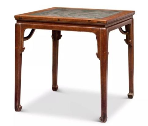 清早期 黄花梨石面霸王枨六仙桌 82×82×81.5cm