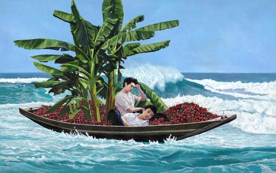 红了樱桃绿了芭蕉 Red Cherry and Green banana 布面丙烯Acrylic on Canvas 125x200cm 2018