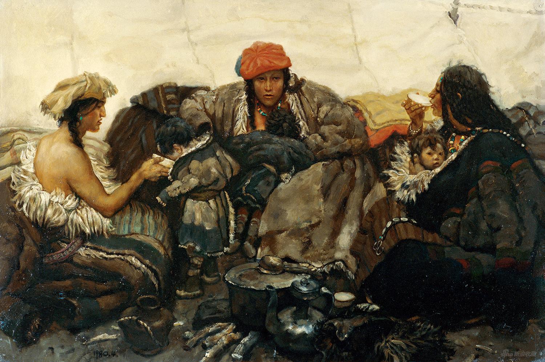 母與子 板上油畫 53.8x79cm 1980年