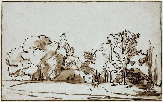 《树下的两间小屋》(Landscape with two houses under trees),Constantijn Daniel van Renesse,1653年