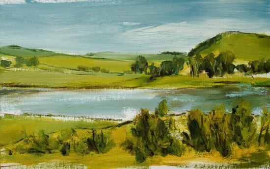 《塞罕坝。有湖的风景》31x51cm布面油画