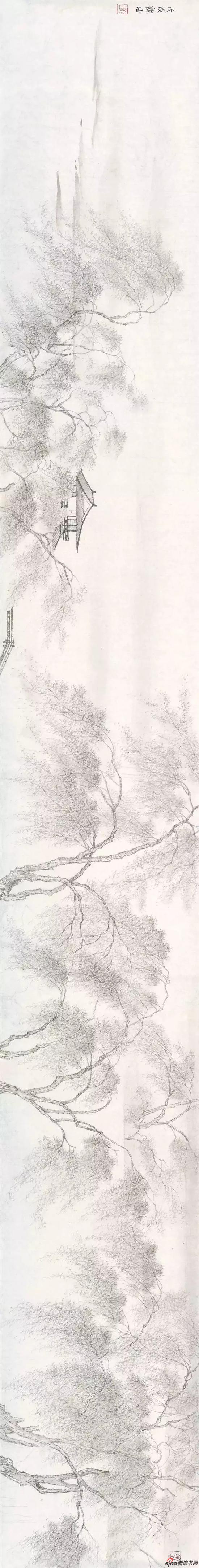 《烟柳水榭》 纸本设色 25×200cm 2018年