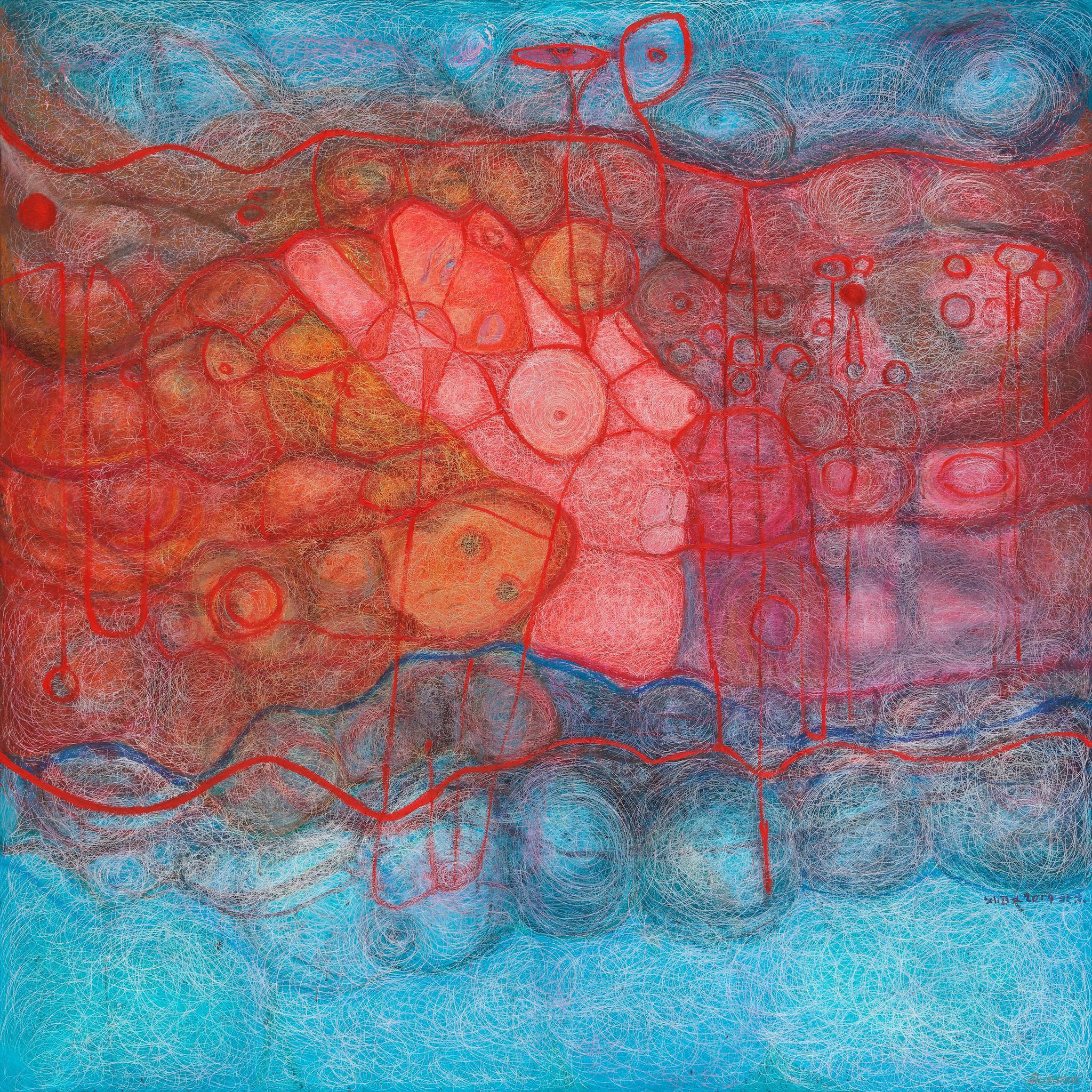 刘国义作品,《反叛》布面油画,150X150cm,2019