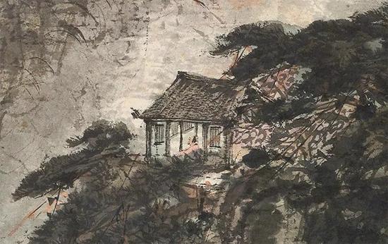 拍品《巴山烟雨》中半山腰的屋舍与朱衣高士,是作品的另一画眼