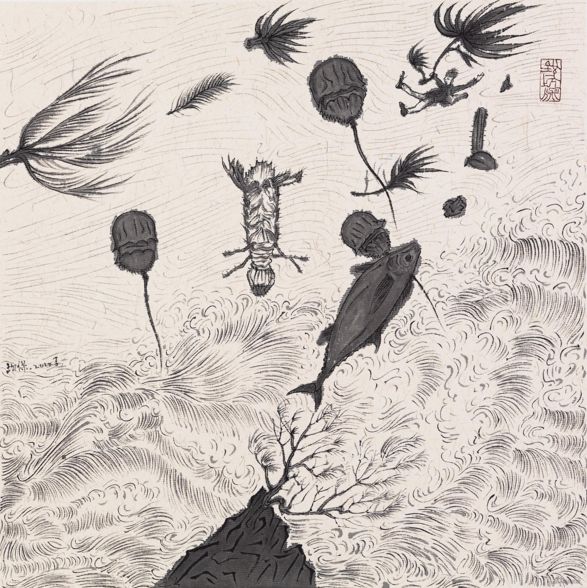 《隐秘角落的台风》 银坎保 纸本、墨 29×29cm 2020