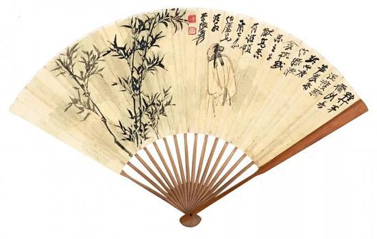 Lot 369   张大千(1899-1983) 子猷高逸   谢无量(1883-1964) 自作诗   成扇 设色绢本、水墨洒金绢