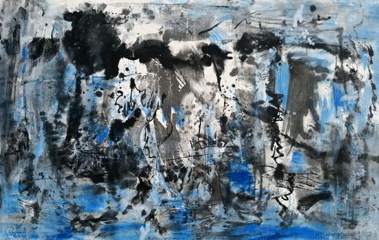 郑连杰作品《晨雾3号》,2018年,水墨丙烯,142 x 81 cm,?郑连杰工作室