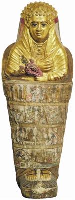 来自哈瓦拉的儿童木乃伊」是罗马时期的埃及木乃伊,有金色面具,手上则握着花朵_b
