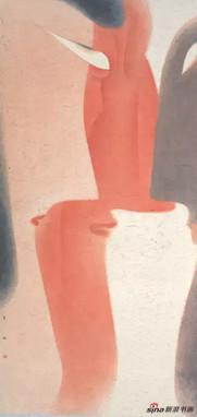 卢甫圣《在者》(局部),水墨设色,252x120cm,2014年