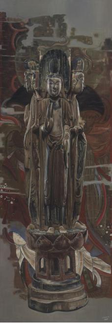 米巧铭佛像系列 佛在灵山 56x160cm 布面油画 2017