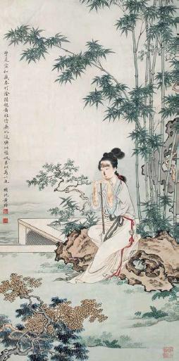 黄均 竹荫闲憩图 纸本 立轴 66×33 cm
