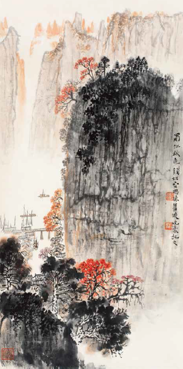 钱松嵒 蜀江秋色 纸本 立轴 67×34 cm