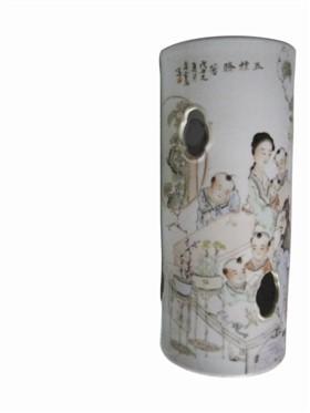 """民国马庆云绘""""五桂腾芳图""""帽筒"""