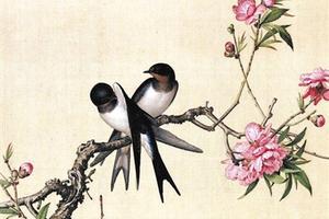图三:郎世宁《双燕桃花图》
