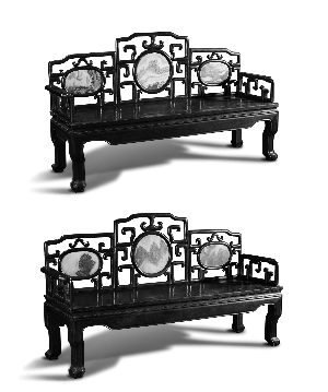 清 广式酸枝三圆景镶大理石长椅