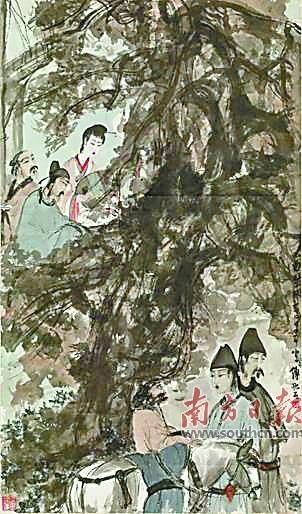 傅抱石作品《琵琶行》。