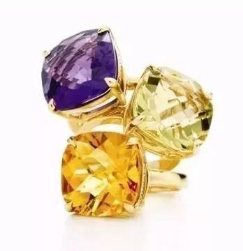 Tiffany2012圣诞系列珠宝,紫水晶、黄水晶及柠檬晶戒指