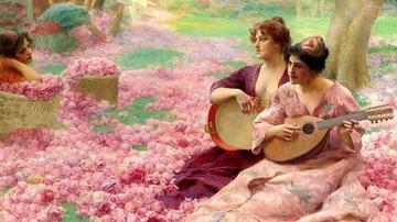 油画里那些惊艳的 美女与鲜花