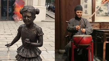 何炅撞脸民间艺人雕像