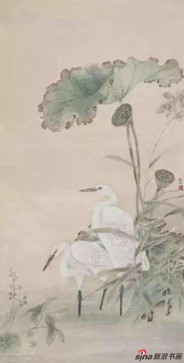《秋渚水禽》248×129cm