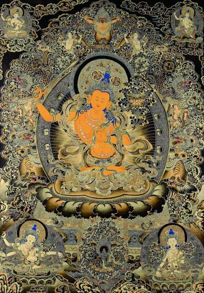 佛教艺术品中又一宠儿——唐卡,图为文殊菩萨唐卡