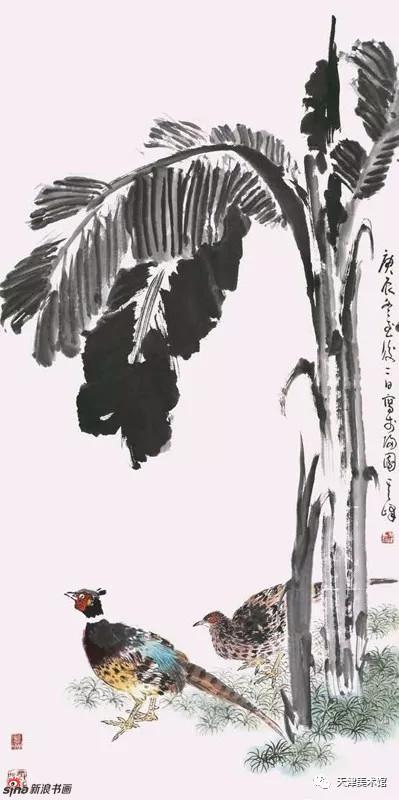 孙其峰 | 芭蕉双雉 138cm×68cm