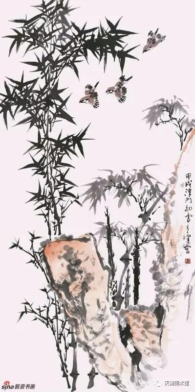 孙其峰 | 竹雀图 138cm×68cm