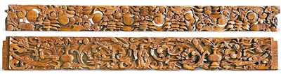 清代榆木雕花板